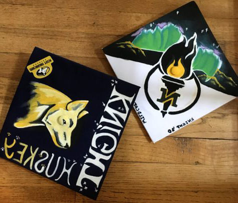 The graduation caps of seniors 亚历克西斯维登 (left) and Brandon Schnurr (right) that were picked up on May 27, 2020 and painted with their colleges symbols. These caps are a testament to the creativity and dedication of the graduating class of 2020.